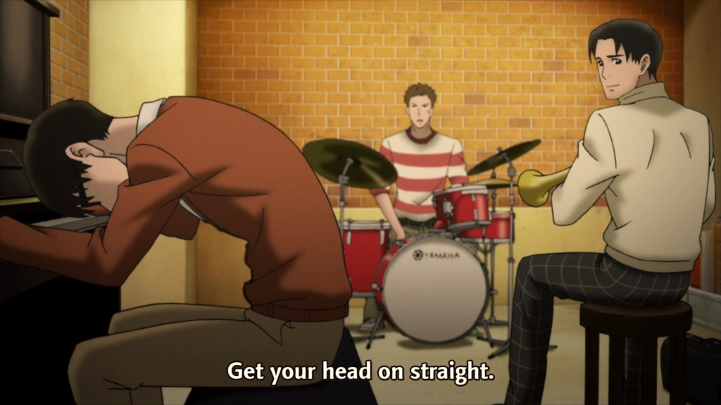 Sentarou telling Kaoru to get his head on straight while Junichi looks at him. Practicing in the basement.