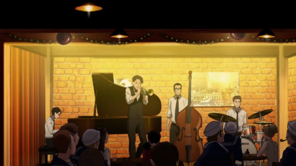 Kaoru, Junichi, Sentarou and Ristuko's dad at the jazz bar performing.