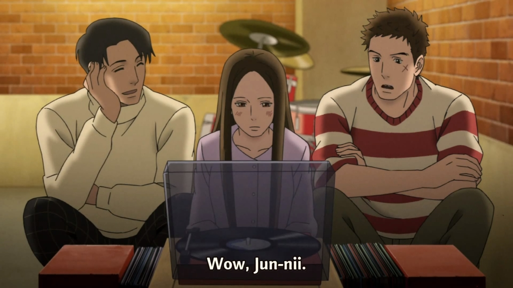 Junichi, Yurika and Sentarou in front of a vinyl recorder, while Sentarou is impressed with Junichi.