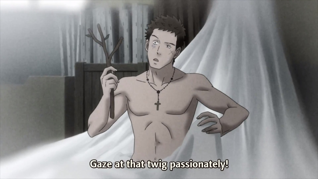 A shirtless Sentarou in sheets looking at a twig while being asked to gaze at the twig passionately.