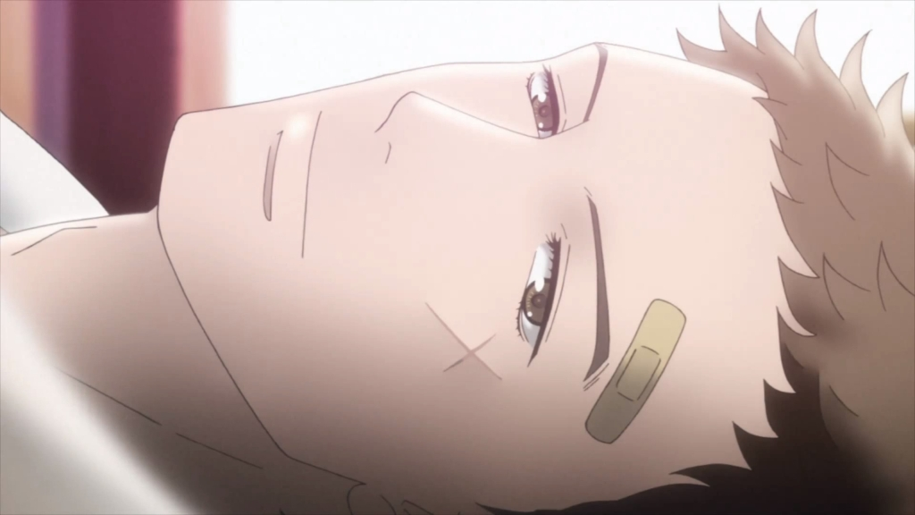 Sentarou's gorgeous face with a bandaid on his head.
