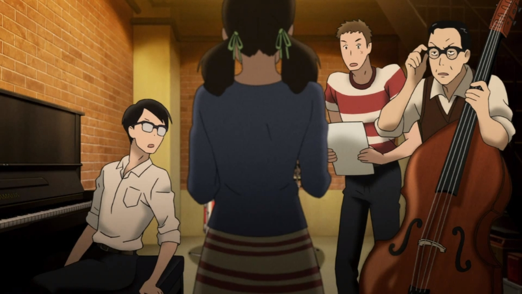 Kaoru, Sentarou and Ritsuko's dad looking at Ritsuko in Shock.