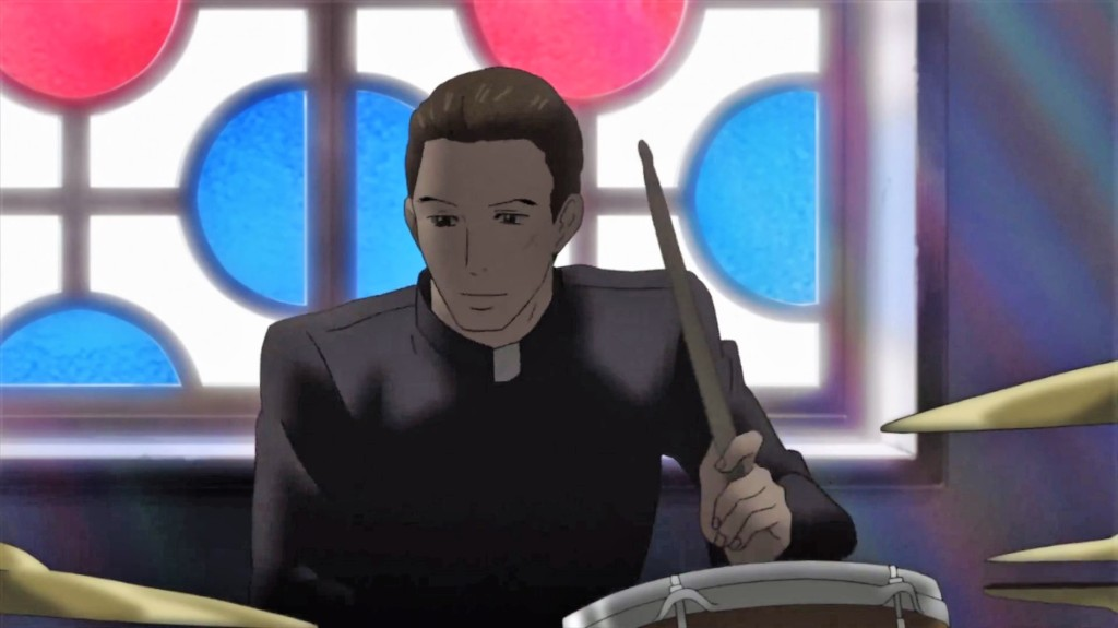 Sentarou in his Priest look playing the drums in the church.